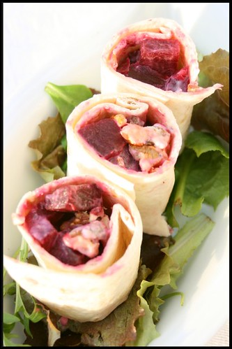 Wraps de betterave et roquefort